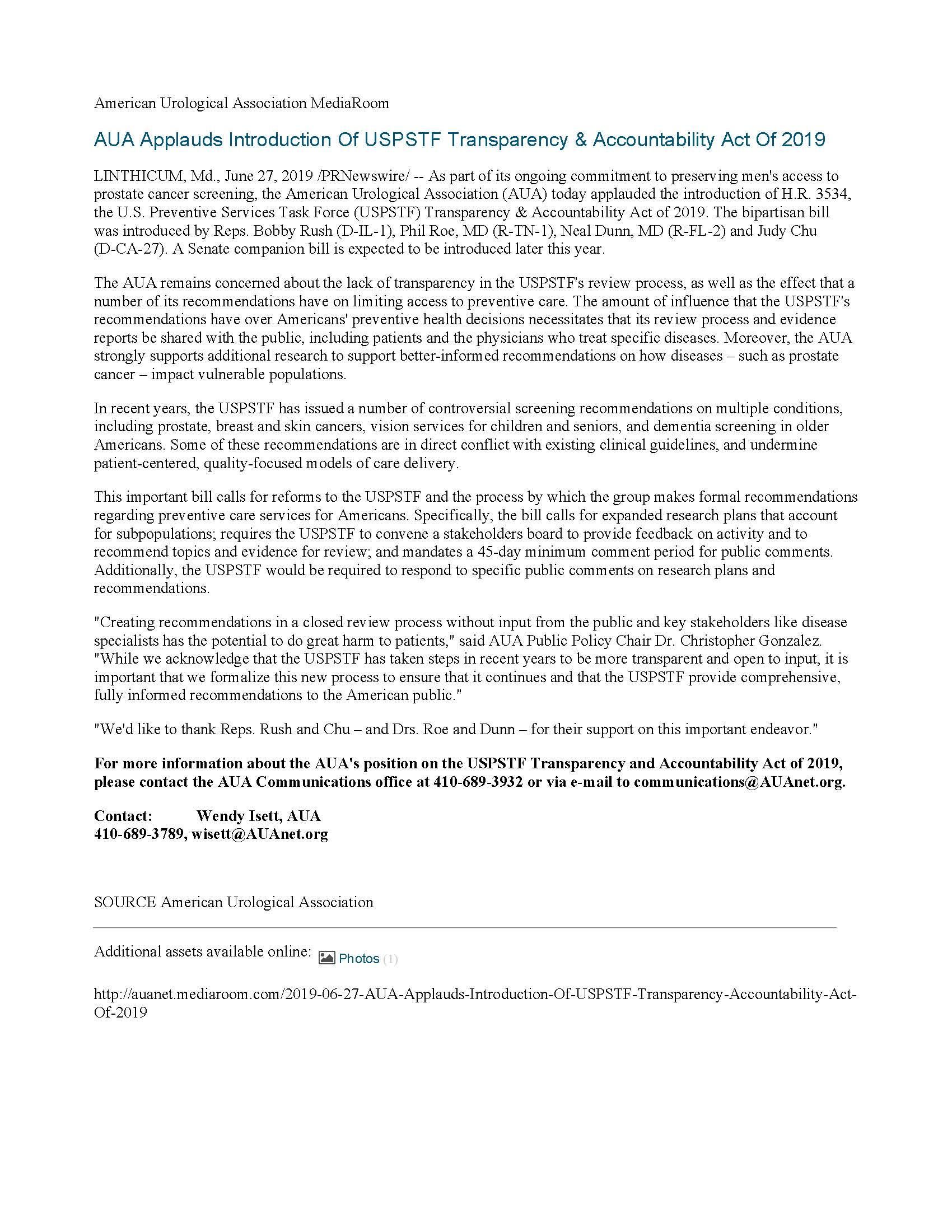 pdf of aua press release AUA Applauds Introduction Of USPSTF Transparency & Accountability Act Of 2019